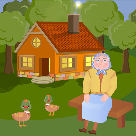 Vector iluustration of grandmother sitting on the bench on the countryside Illustration