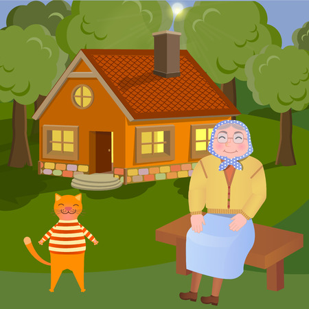 Vector iluustration of grandmother and her cat sitting on the bench on the countryside Illustration