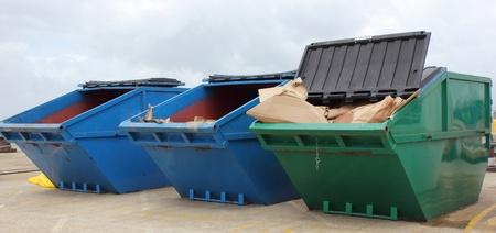 Industrial waste skips Standard-Bild