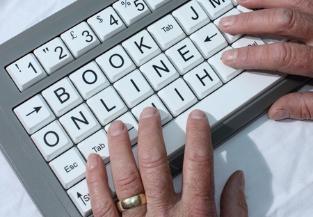 Book Online shown on a keyboard photo