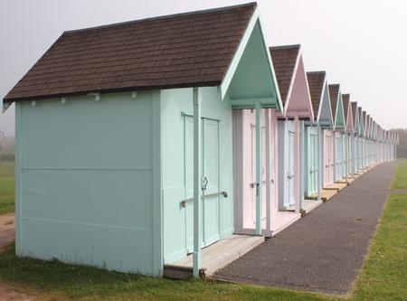 edwardian: Edwardian English Beach Huts Stock Photo