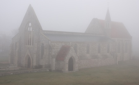 The bomb damaged garrison church of old portsmouth during a foggy day Stock Photo - 17143422