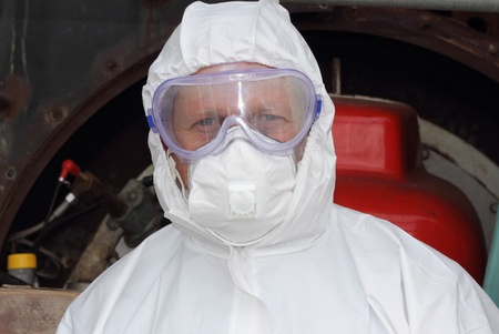 Industrial Cleaner wearing ppe photo
