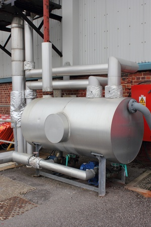 lagging: A Condensate pumping set with  full lagging in place Stock Photo