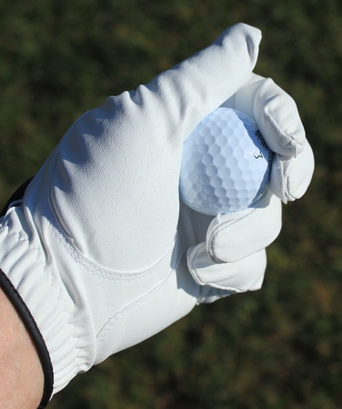 golfball in gloved hand photo