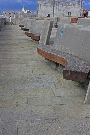 Modern Style Seating at Sallyport, Old Portsmouth Stock Photo - 17316865