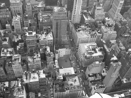 looking down onto black   white vintage buildings of Newyork photo