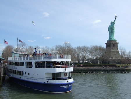 7th may 2007,The statue of liberty with the passenger ferry,NewYork,America,7th may 2007