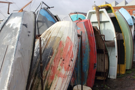 dingy: Dingy boats stored at portsmouth harbour