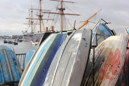 Dingy boats stored at portsmouth harbour  photo