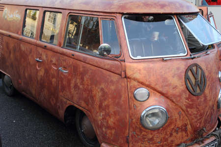 an old retro van at a show in wickham, england on the 26th december 2012