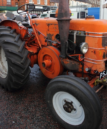 an old retro tractor at a show in wickham, england on the 26th december 2012