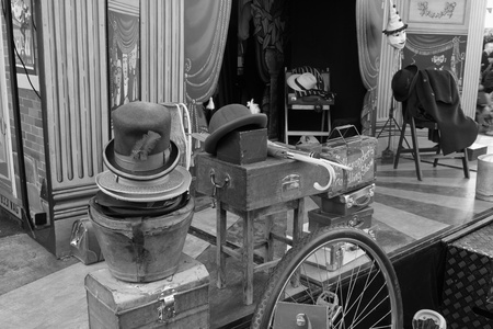 showman: Victorian hats & props for a showman at portsmouth dockyard,1st december 2012