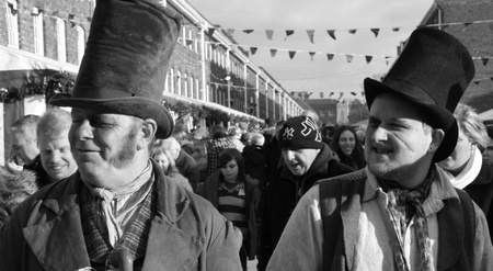victorians at a christmas fair in portsmouth dockyard,1st december 2012