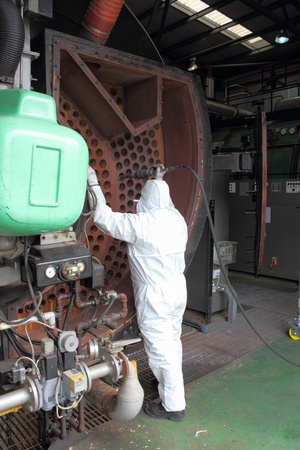 An engineer wearing ppe for an industrial boiler clean Stock Photo - 17456003