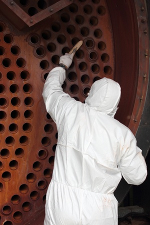 An engineer wearing ppe for an industrial boiler clean Stock Photo - 17456013