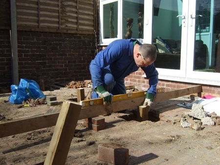 Foundations for wooden decking Stock Photo