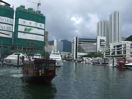 Hongkong river with the famous junk boats