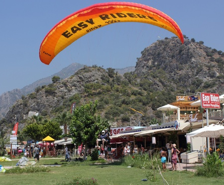 oludeniz: Paragliding at oludeniz beach, Turkey.The take off from the mountains from a height of 6500ft,3Oth july 2012