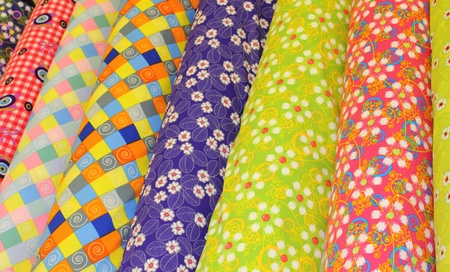 Textiles and fabrics for sale at a Turkish bazaar Stock Photo - 17665188