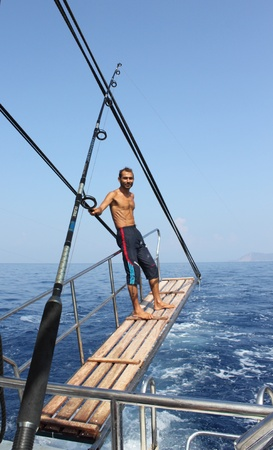 Looking for fish on a fishing trip in Turkey, August 2012