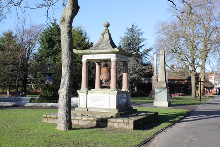 Memorial to crew of HMS Orlando killed fighting in Tientsin, China The monument the shape of a temple and holds a bell captured at Taku Public monument erected 1902, Victoria Park, Portsmouth  photo