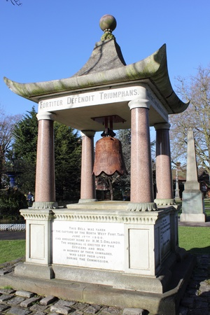 Memorial to crew of HMS Orlando killed fighting in Tientsin, China The monument the shape of a temple and holds a bell captured at Taku Public monument erected 1902, Victoria Park, Portsmouth
