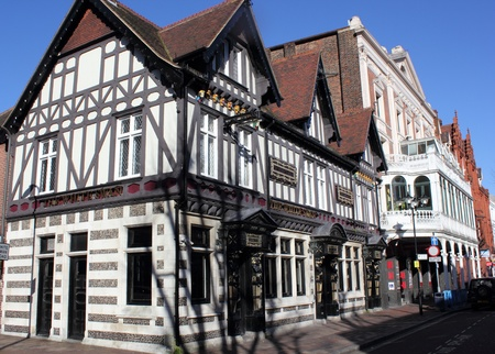 portsmouth: Old architecture in the tudor style from the famous city of portsmouth Stock Photo