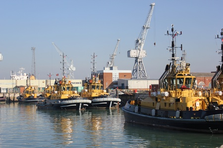 portsmouth: Tug boats moored in portsmouth harbour Stock Photo