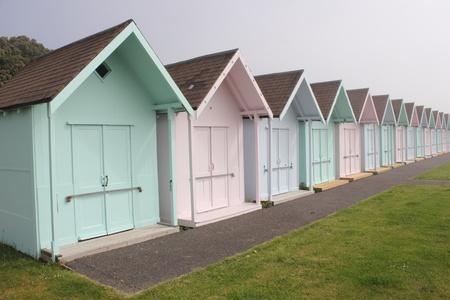 portsmouth: Beach huts Stock Photo