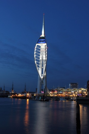 portsmouth: The Spinnaker Tower of Portsmouth in the UK at night time