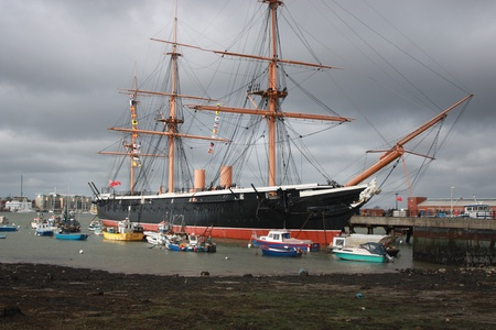 portsmouth: Hms warrior english navy victorian iron hulled war ship built in 1860 in the royal naval dockyards portsmouth england