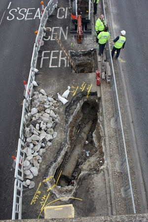 Roadworks and repairs to a damaged gas main Editorial