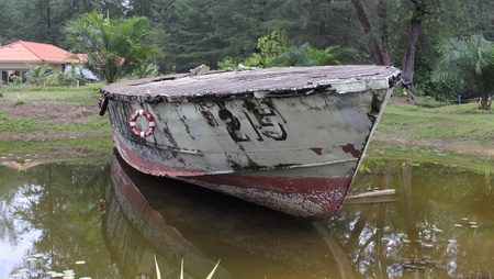 A naval boat wreckage at the phang-nga-naval base after the tsunami of 2004 in Thailand