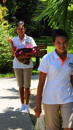 hotel staff: Friendly hotel staff at a hotel in Khao Lak in Thailand, april 2012