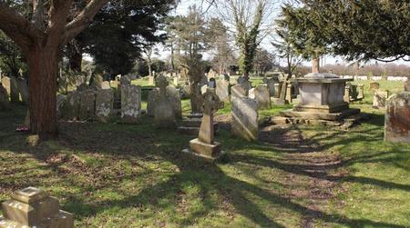 churchyard: an english graveyard on a sunny day