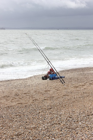 Beach fishing along the coast of portsmouth