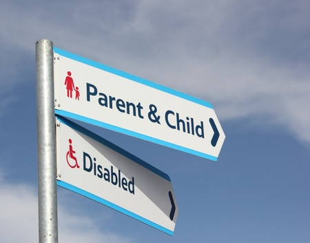 disabled and Parent   child parking signs for parents who drive and require parking photo
