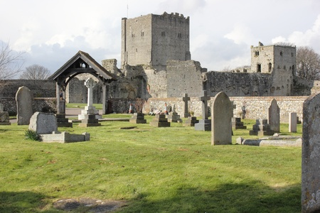 portsmouth: A church and graveyard within the walls of a medieval castle