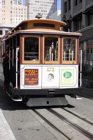 The famous cable cars of San Francisco, 2nd april 2013 Stock Photo - 19030930