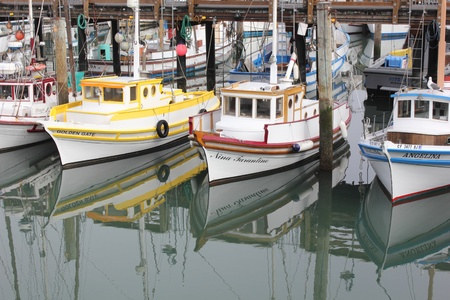 Fishing boats moored in fishermans wharf, san francisco, march 2013