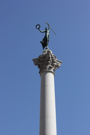 dewey:  Victory statue with a trident, atop a column monument celebrating Admiral Dewey,union square,san francisco ,march 2013
