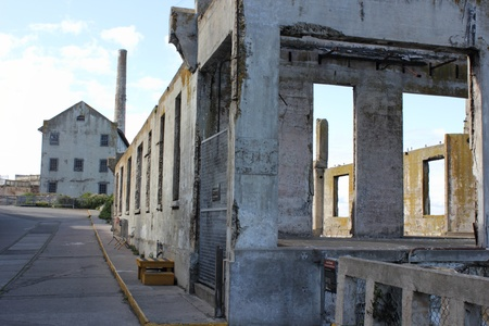 Ruins of Alcatraz prison on the rock in San Francisco ,march 2013