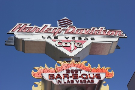 bar b que: Harley-davidson retro cafe sign along the Las Vegas strip, april 2013