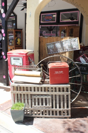 icebox: An old american icebox cooler with other items of interest found in the quiet boulder city, april 2013