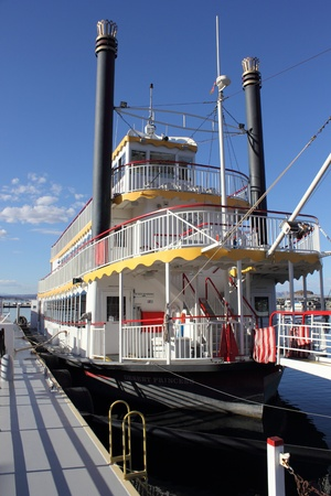 Old timer paddle steamer moored at lake mead marina, april 2013 Stock Photo - 19169138