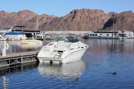 Boats moored at lake mead marina, april 2013