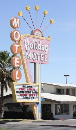 Retro motel sign along the las vegas strip, nevada, march 2013