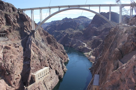 The famous Hoover Dam and colorado bridge between Arizona and Nevada - USA, april 2013