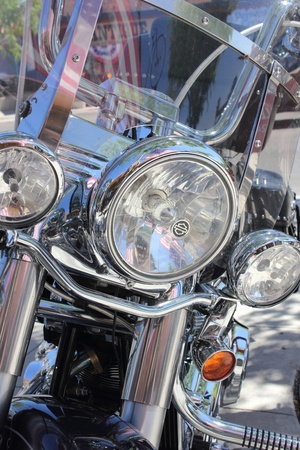 Classic motorbike up close with lots of chrome,march 2013